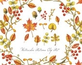 Watercolor Clip Art - Autumn Leaves - Digital and Printable