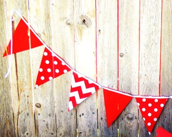 Bunting, Banner Fabric Pennant Garland Flags, Red, Polka Dot, Chevron, Baby Nursery, Birthday Party Banner, Photo Prop, Wedding Garland