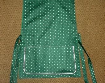 Kitchen Cobbler Lined Apron  Smock Green with Beige Hearts