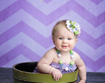 Grape Escape- purple and lime green triple rosette and chiffon headband