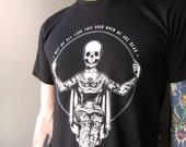 3XL Unisex, Momento Mori, Tattooed Lady, Skeleton, Unisex Shirt, Antique White on Black, Soft, Comfy