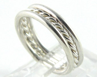 Twisted and Round Set of 3 Sterling Silver Stacking Ring