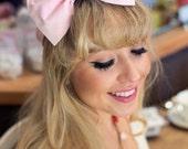 Baby Pink Polka Dot Bow Headband, Dolly Bow, Pastel Bow Headband, Rockabilly Pin Up Girl Headband, Bow Headband, Kawaii Lolita Headband