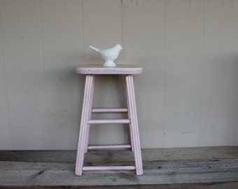 Vintage Pink Wooden Stool