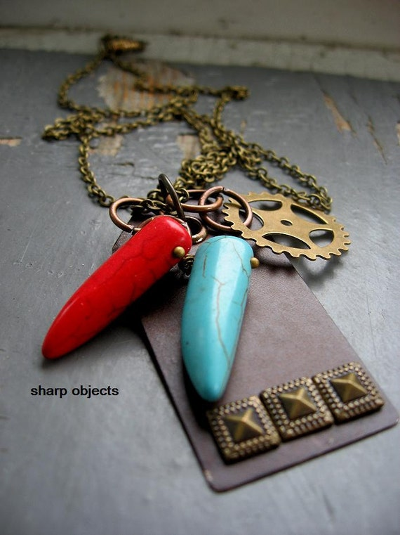 KEEPER - steampunk inspired layered antique studded tag, metalwork gear & tribal carved claw /fang charm chain NECKLACE