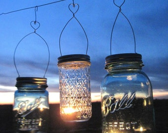 Valentine's Day DIY Heart Hanging Jar Vase or Candle Mason Jar Heart Hangers, Garden Wedding Lanterns 12 DIY Lids Only