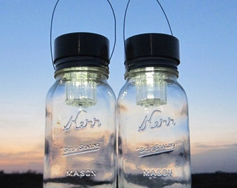 Solar Kerr Canning Jar Lights Vintage Garden Hanging Lanterns Outdoor Mason Jar Solar Lights