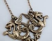 Vintage Necklace - Dragon Necklace - Dragon Jewelry - Brass jewelry - Statement Necklace - handmade jewelry - Fantasy jewelry