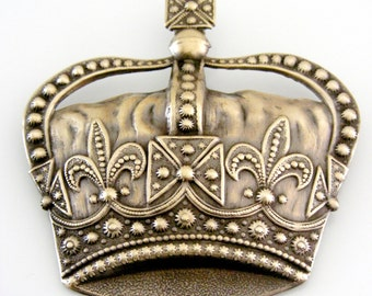 Vintage Brooch - Crown Brooch - Statement Brooch -  Brass Jewelry - Large Brooch - handmade jewelry