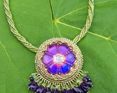 ISTANBUL  -Green Beadwork Necklace with Iridescent Purple Blue Pendant