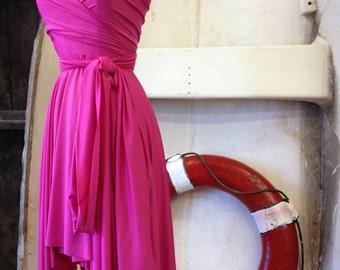 Flamingo Fuchsia-Octopus Infinity Short Wrap Dress