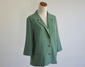 Vintage Jacket Blazer, Preppy 60s Jacket, Blue and Green Striped Wool Jacket, Striped Blazer, Wool Blazer, Gold Buttons, 60s Blazer, Large