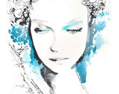 Archival Watercolor Fashion Prints from an Original Watercolor Fashion Illustration. Vintage blue