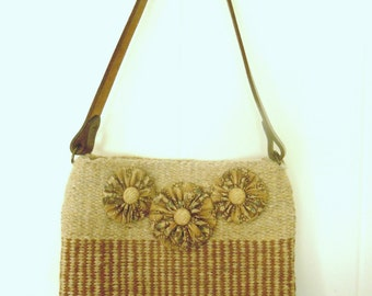 SALE - Hand Woven Neutral Purse With Leather Strap and Button Embellishment