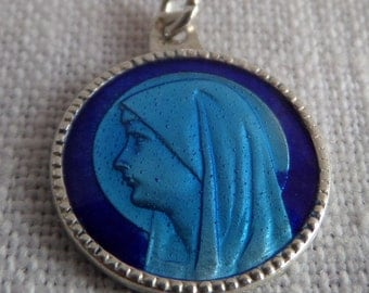 CATHOLIC MARY ENAMEL Medal Sterling Silver and Enamel