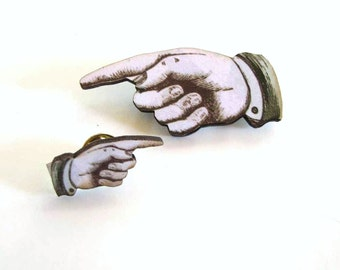 pointing finger pin & tie tack set / hand brooch / I'm with stupid / pointing finger lapel pin / illustrated hand brooch #a