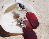 "Large Red Sea Glass Earrings with Sterling Coated Pewter ""Joy"" Beads on Sterling French Ear Wires ER 14"