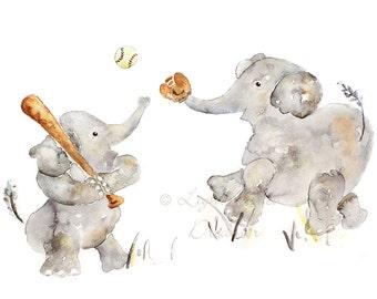 Elephant Nursery Print, Baby Boy Gift, Baseball Wall Decor, Custom Baby Gift, Baby Boy Nursery, Baseball Nursery, Sports Nursery