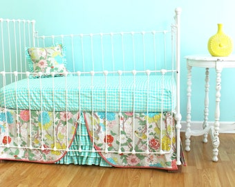 Bumperless Baby Bedding -  Garden Floral Crib Bedding Set- OOP fabric-  LAST ONE!!
