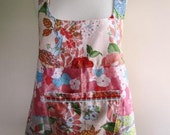 Pinafore Apron Smock Shabby Chic Floral Vintage Peach and Orange - Size Medium
