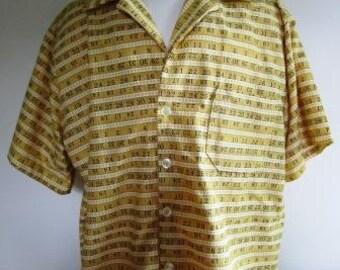 Hipster Shirt Big and Tall Retro Ruler Teacher Carpenter Short Sleeved Yellow - Size XL