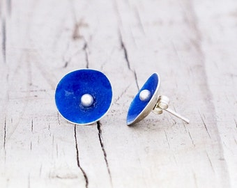 Eco Friendly Royal Blue Sterling Silver Enamel Earrings Recycled silver earrings Blue torch-fired Enamel 925 round upcycled small stud post