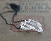 Crystal Quartz on Long Oxidize Sterling Silver Necklace