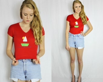 Vintage Red sailboat cropped t-shirt