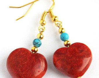 4th July Red Heart Earrings Turquoise and Coral Earrings Red Sponge Coral Heart Turquoise Earrings Gold Earrings Gift for girlfriend