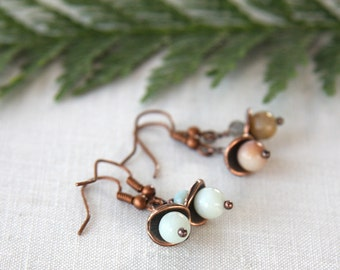 4th July Amazonite Stone Earrings Rustic Copper Boho Jewelry Tribal Earrings You Pick Light Blue Amazonite or Wild Natural Color