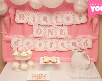Pink WINTER ONEderland Collection - DIY Printable First Birthday Party Decorations // Winter and Snow 1st Birthday Decor - Instant Download