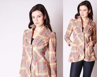 1970s Plaid Jacket - Varsity Vintage - Collegiate Jacket - Plaid Jackets - 2634