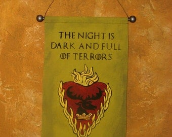 "Hand Painted Canvas ""Night is Dark and Full of Terrors"" Banner - Game of Thrones - Stannis Baratheon - Flaming Heart & Stag - Sigil"
