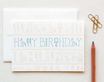 Letterpress Hieroglyphics Birthday Card