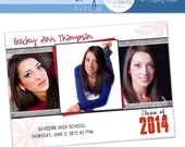5x7 Graduation Announcement (Becky) Photoshop Template for Photographers