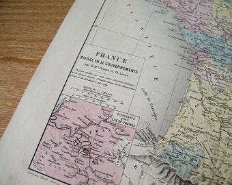 1905 Antique large MAP of  FRANCE, divided into 32 governments, Paris
