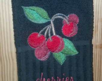 Cherry Embroidered Kitchen Towel - Black Cotton Terry Towel