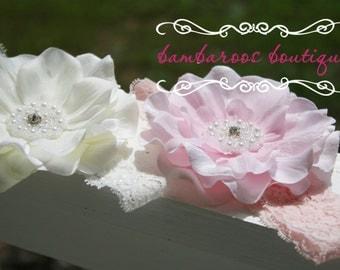baby headbands, pink newborn headbands, ivory flower, infant headband, toddler headband, baptism headband, christening headband