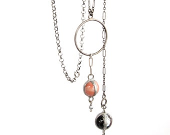 Ring Taws & Dropsies — lariat necklace with antique bottle collar and marbles