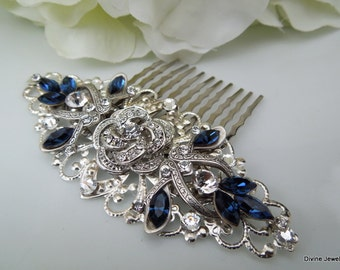 Bridal Rhinestone Hair Comb Wedding Rhinestone Hair Comb Rose Rhinestone Hair Comb Swarovski Crystals Something Blue Hair Comb ROSELANI