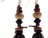 Handcrafted Costume Jewelry Brown Painted Black Wood Hematite Bead Dangle Earrings