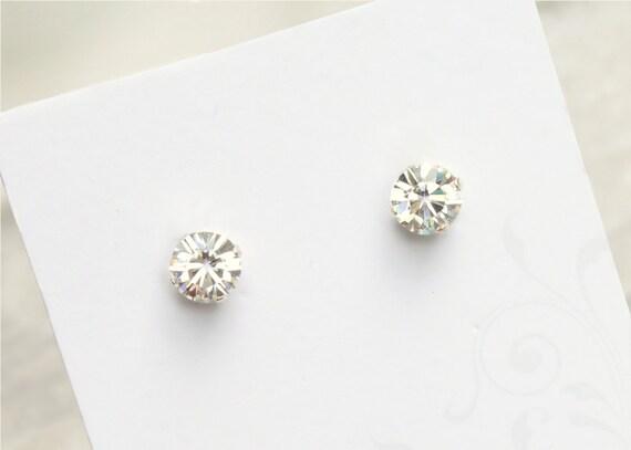 Swarovski crystal bridal earrings, sterling silver, clear crystal wedding studs AB09