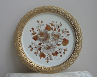 Vintage Nashco Round Metal Tray With Gold Ivory Hand Painted Tole Flowers Signed By Artist, Reticulated Filigree Edge GORGEOUS