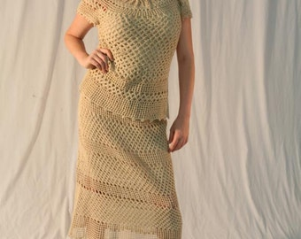 Women's Vintage Crochet Dress Two Piece Top Skirt Set Taupe, Nude S-M