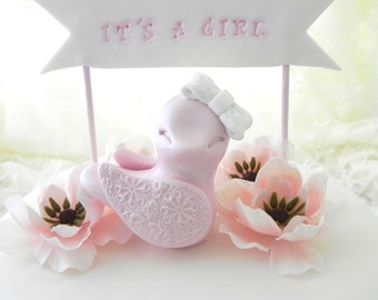"""Baby Shower Cake Topper -  Pink Baby Girl Bird -  """"It's A Girl"""" Banner, New Mommy Gift, Keepsake, Nursery Decor"""