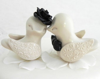 Love Birds Wedding Cake Topper, Black and Beige,  Bride and Groom Keepsake, Custom Colors