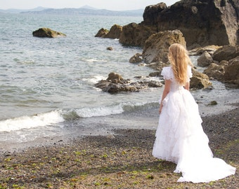 Grace, Vintage Wedding Dress, Stunning White, Tulle Lace Dress with Train from Paris