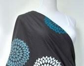 Infinity Nursing Cover, Grey Nursing Scarf, Chrysanthemum Scarf