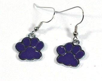 Purple Paw Print Enamel Charm Earrings Wildcats Bears Cubs School Spirit mascot Dog Cat Foot Print tween teens college high school jewelry