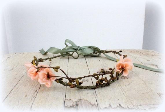 DAHLIA Peach Woodland Crown, Bridal Flower Crown, Woodland Boho Headpiece,Headband, Floral Headband, Flower Headpiece, Wedding Headpiece